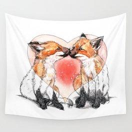 baby fox love Wall Tapestry