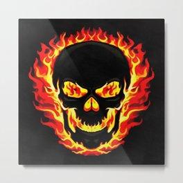 Flame Skull Metal Print