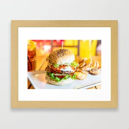 Enjoy Your Burger, Tasty Juicy American Beef Burger, Fast-Food Restaurant, Food Photography Framed Art Print