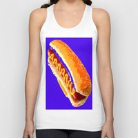 hot dog Tank Tops featuring Hot Dog by Del Vecchio Art by Aureo Del Vecchio