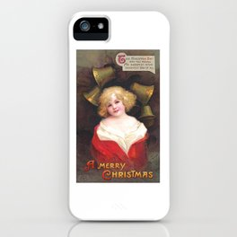 Christmas girl, enveloped in a red garment, amid chiming bells by Ellen Clapsaddle iPhone Case