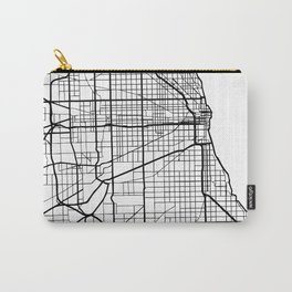 CHICAGO ILLINOIS BLACK CITY STREET MAP ART Carry-All Pouch