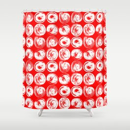 Round brush strokes on red Shower Curtain