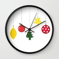 xmas Wall Clocks featuring Xmas by Azadeh Navabi