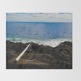 The Pacific Ocean as seen from the Wild Pacific Trail on Ucluelet, BC Throw Blanket