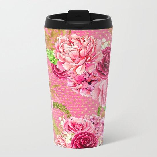 Pink Roses Pattern 07 Metal Travel Mug