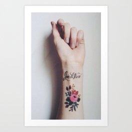 Joie de vivre - wrist tattoo flowers Art Print