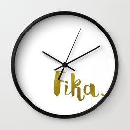 Golden fika Wall Clock