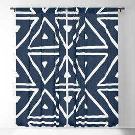 Big Triangles in Navy Blackout Curtain