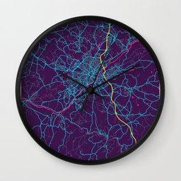 Limoges Neon City Map, Limoges Minimalist City Map Art Print Wall Clock