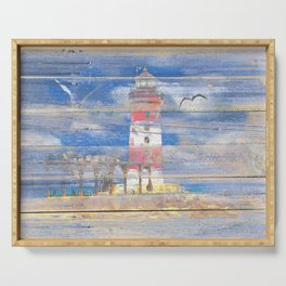 Lighthouse with Seagulls A343 Serving Tray