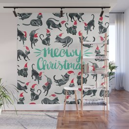 Meowy Christmas – Mint Type Wall Mural