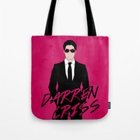darren criss Tote Bags featuring Pink Darren Criss by byebyesally