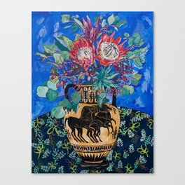 Painterly Bouquet of Proteas in Greek Horse Urn on Blue Canvas Print