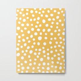 6-303-1n Yellow & White, Big Decorative polka dots, Abstract Boho decor Metal Print