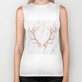 Rose gold antlers on soft white marble Biker Tank