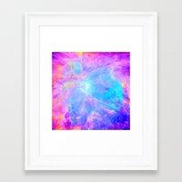 nebula Framed Art Prints featuring Orion nebulA : Bright Pink & Aqua by 2sweet4words Designs