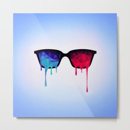 3D Psychedelic / Goa Meditation Glasses (low poly) Metal Print