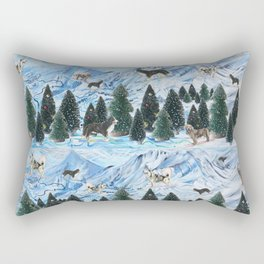 Dogs Skiing - Mountain Resort Scene with Bernese Mountain Dogs, Golden Retrievers, and Malamutes Rectangular Pillow