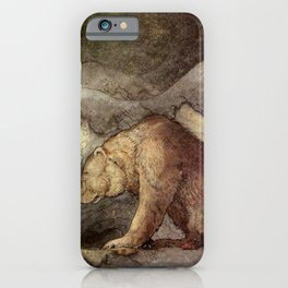 John Bauer Kissed the Bear On The Nose 1907 Reproduction Young Princess Bear Fairy Tale iPhone Case