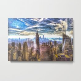 New York Manhattan Skyline Art Metal Print