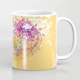 Retro Rainbow and Music Notes Exploding on a Yellow Background Coffee Mug