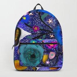 Purple galaxy floral splash lighting bugs Backpack