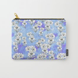 Ink peruvian lilies on blue textured background - seamless pattern Carry-All Pouch