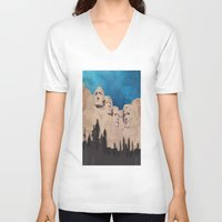 rushmore V-neck T-shirts featuring Night Mountains No. 15 by Bakmann Art