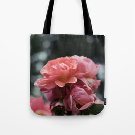 Roses and Raindrops: Peach Tote Bag
