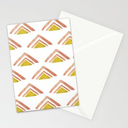 Pink and Yellow Boho Triangles Stationery Cards