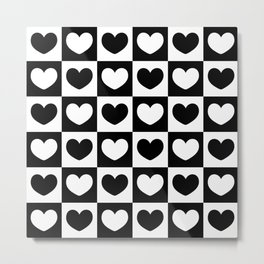Black and White Heart Checkered Pattern Metal Print