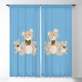 Teddy Bears Triplet - Blue Blackout Curtain