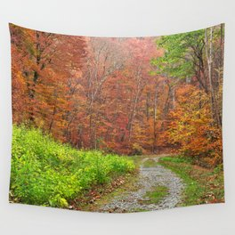 Vibrant Autumn Trail Wall Tapestry