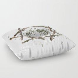 nature mandala... beech sticks, hemlock needles, quail egg Floor Pillow