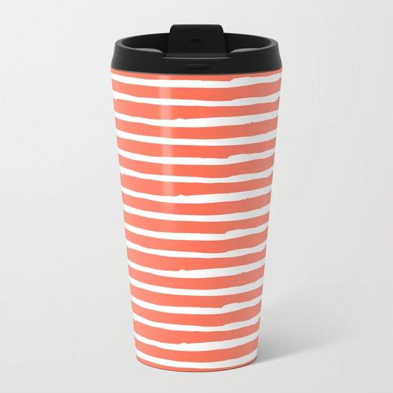 Thin Stripes White on Deep Coral Metal Travel Mug