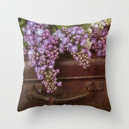 Vacation in the spring- lilac and vintage suitcase Throw Pillow