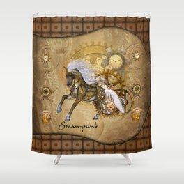 Wonderful steampunk horse with white mane Shower Curtain