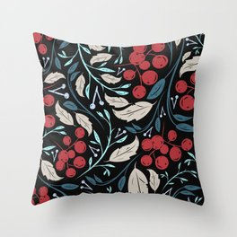 Holiday Holly and Mistletoe Pattern Throw Pillow