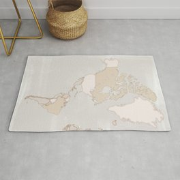 "Rustic world map in grey and brown ""Lucille"" Rug"