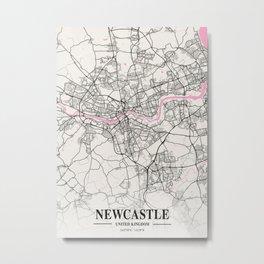 Newcastle - United Kingdom Neapolitan City Map Metal Print