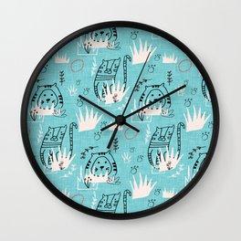 Tiger Roar Blue Wall Clock