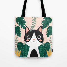 Jungle Cat Black and White Tote Bag