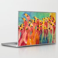 flamingos Laptop & iPad Skins featuring Flamingos by takmaj