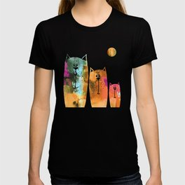 Cat Family at Night T-shirt