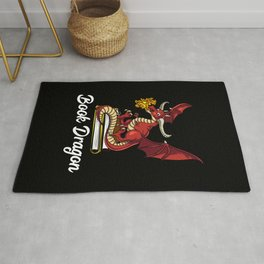 Book Dragon Reading Fantasy Geek Rug