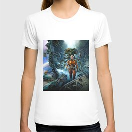 Astronaut and aliens T-shirt