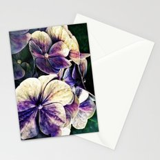 Hortensia flowers in vintage grunge watercoloring style Stationery Cards