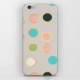 gold and tutti fruit polka dots iPhone Skin