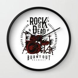 Rock Is Dead - Vintage Rock Band, Drum Set, Heavy Metal Music Wall Clock